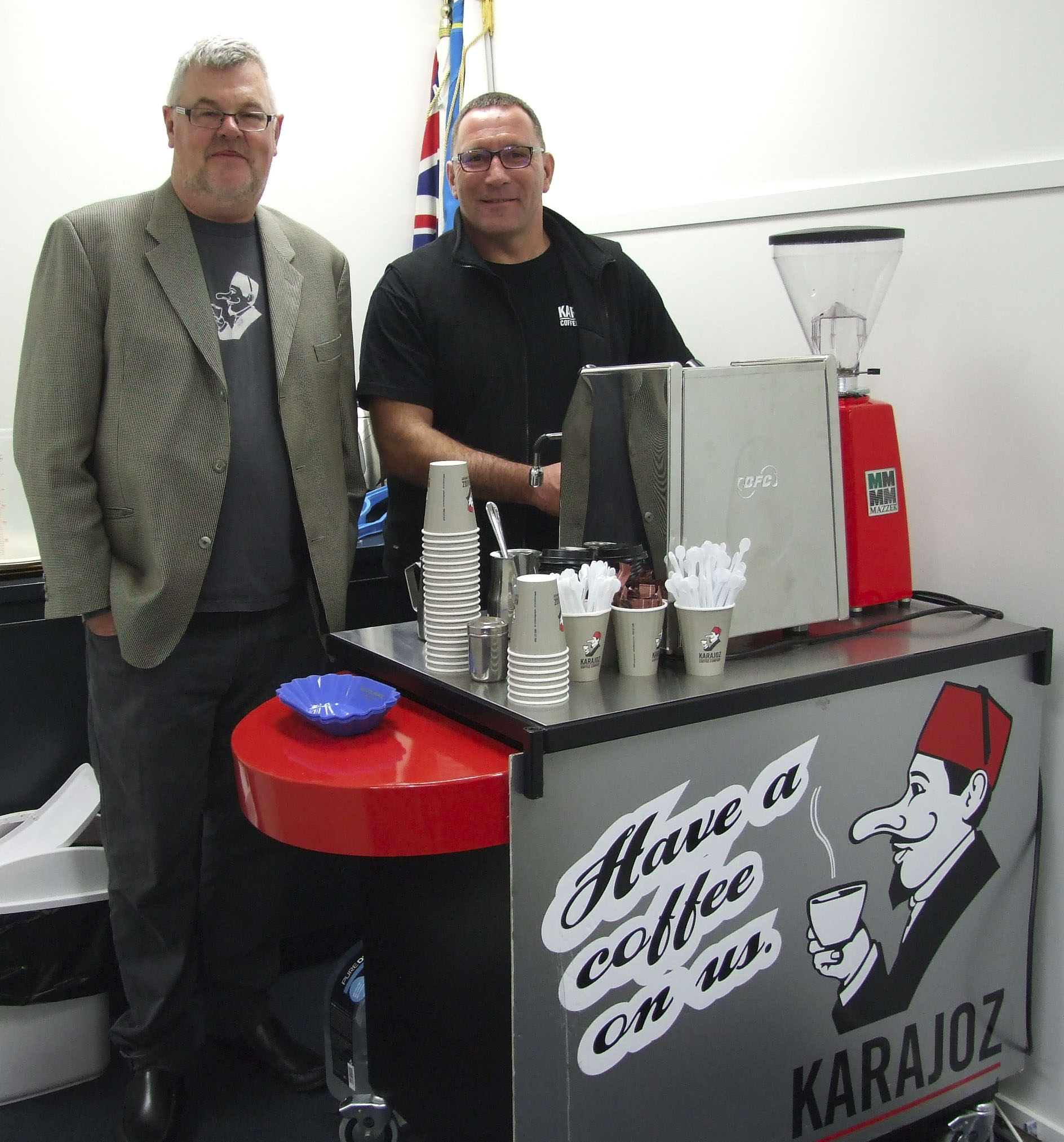 Derek Townsend of Karajoz and top call barista ready to kick start us with Karajoz